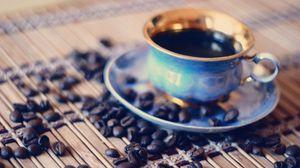Превью обои кофейные зерна, кофе, чашка, утро, макро