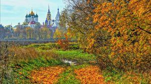 Превью обои коломна, россия, осень, храм, деревья