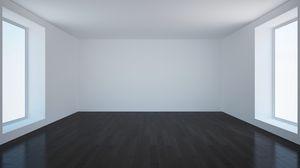 Превью обои комната, пустота, паркет, стены
