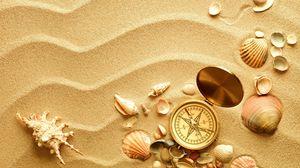 Превью обои компас, ракушки, раковины, песок