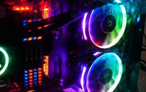 Превью обои компьютер, кулеры, подсветка, неон, разноцветный
