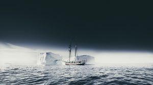Превью обои корабль, айсберг, льдины, туман, море, небо