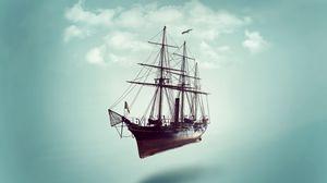 Превью обои корабль, минимализм, небо, облака