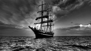 Превью обои корабль, море, паруса, буя, чб