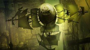 Превью обои корабль, полет, паруса, иной мир