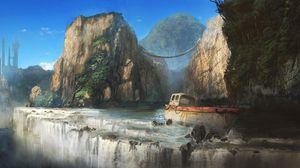 Превью обои корабль, скалы, обрыв, водопад, небоскребы
