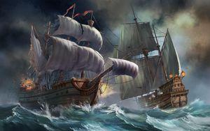 Превью обои корабли, море, шторм, взрыв