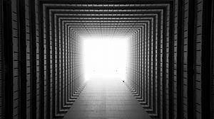 Превью обои коридор, симметрия, геометрия, архитектура, свет, перспектива