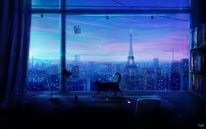 Превью обои кошка, арт, окно, город, вид