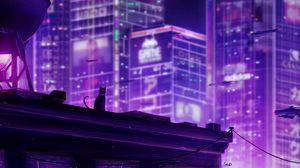 Превью обои кошка, крыша, город, будущее, неон, подсветка