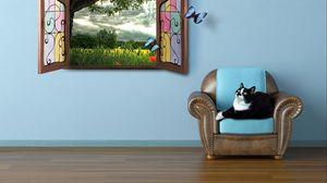 Превью обои кошка, лето, окно, наблюдать, сказка, бабочки