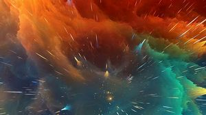 Превью обои космический взрыв, яркий, линии, формы, объем