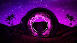 Превью обои космонавт, кольцо, неон, свечение, темный