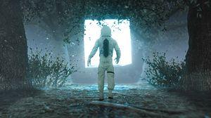 Превью обои космонавт, силуэт, свечение, свет, портал, 3d