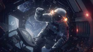 Превью обои космонавт, скафандр, космический корабль, космос