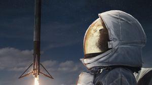 Превью обои космонавт, скафандр, ракета, запуск