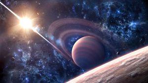 Превью обои космос, галактика, сатурн, планета