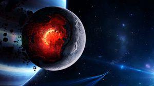 Превью обои космос, катаклизм, планета, арт, взрыв, астероиды, кометы, обломки