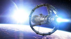 Превью обои космос, планета, корабль, арт, звезда