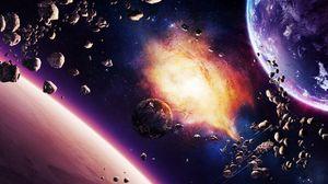 Превью обои космос, планета, взрыв, свет