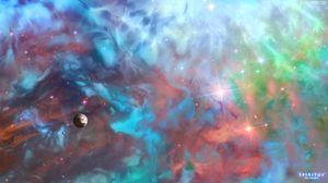 Превью обои космос, планеты, вселенная, облака, звезды, разноцветный