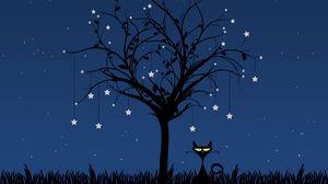 Превью обои кот, арт, дерево, вектор