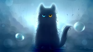 Превью обои кот, гетерохромия, черный кот, арт
