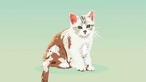 Превью обои котенок, кот, вектор, арт