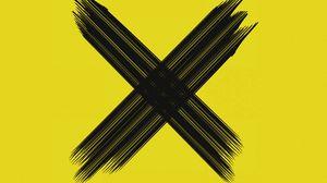 Превью обои крестик, символ, мазки, пересечение, черный, желтый, минимализм