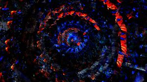 Превью обои круги, вращение, красный, синий, закрученный, спираль