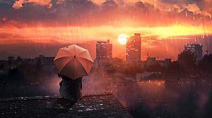 Превью обои крыша, дождь, зонт, ночь, небо, уединение, одиночество