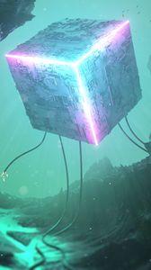 Превью обои куб, 3d, неон, подсветка