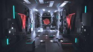 Превью обои куб, фигура, 3d, неон, свечение