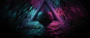 Превью обои куб, фигура, темный, тоннель, подсветка, 3д