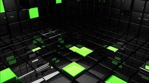 Превью обои куб, квадрат, зеленый, черный, пространство