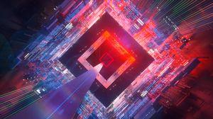 Превью обои куб, пространство, полет, схемы, погружение, футуристический, арт