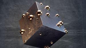 Превью обои куб, шары, металлический, текстура, 3d