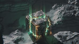 Превью обои куб, схема, чип, свечение