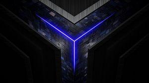 Превью обои куб, схема, чипы, свечение, неон