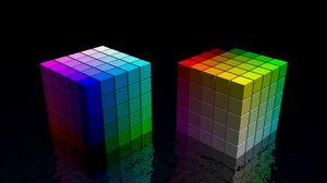Превью обои кубик, куб, разноцветный, яркий, черный, пространство