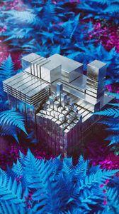 Превью обои кубы, конструкция, фигуры, металл, блики, папоротник, 3d