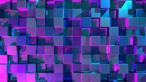 Превью обои кубы, поверхность, рендеринг, свечение