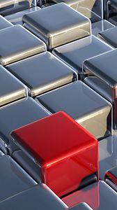 Превью обои кубы, серебристый, красный, простраство