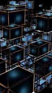 Превью обои кубы, структура, запутанный, 3d, объем