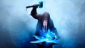Превью обои кузнец, наковальня, арт, молот, меч, огонь