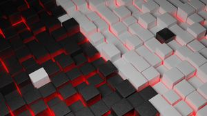 Превью обои кубы, формы, фигуры, объем, 3d, свечение
