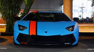 Превью обои lamborghini, aventador, lp700-4, blue, supercars, exotic