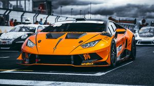 Превью обои lamborghini, машина, спорткар, оранжевый, гонки