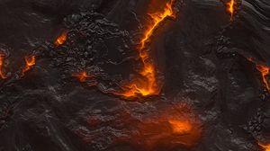 Превью обои лава, текстура, поверхность, трещины, огонь, горячий