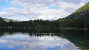 Превью обои лес, деревья, озеро, горы, пейзаж
